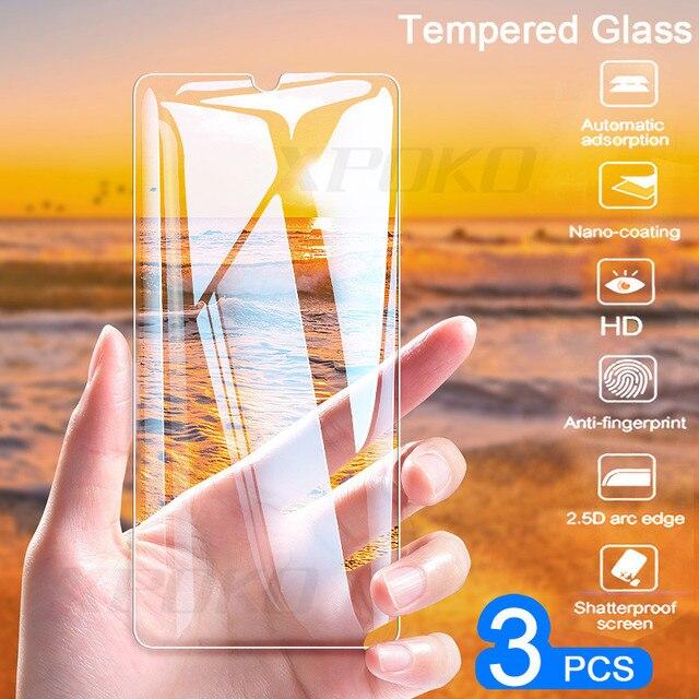 Protetor de tela de vidro temperado para huawei, 3 unidades p20 pro p30 lite p smart p10 plus honor filme de vidro 20 10 lite 8x