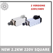 CNC ER20 2.2KW 220V 380V 24000 Rpm Air-Cooled Square Motor Spindle Runout-Off 0.002 Mm untuk Penggilingan CNC dengan Plug/Kotak Kabel Versio(China)