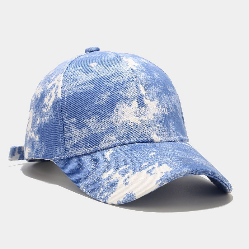 Embroidery Tie-dye Baseball Cap Outdoor Travel Sun Visor Adjustable Hats Simple Versatile Sport Cotton Casual Hats Unisex Hip