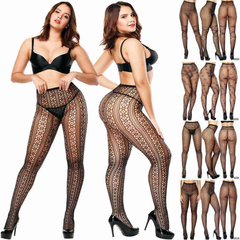 PLUS ขนาด Pantyhose Tights ผู้หญิงเซ็กซี่ไนลอนลูกไม้ลาย SHEER