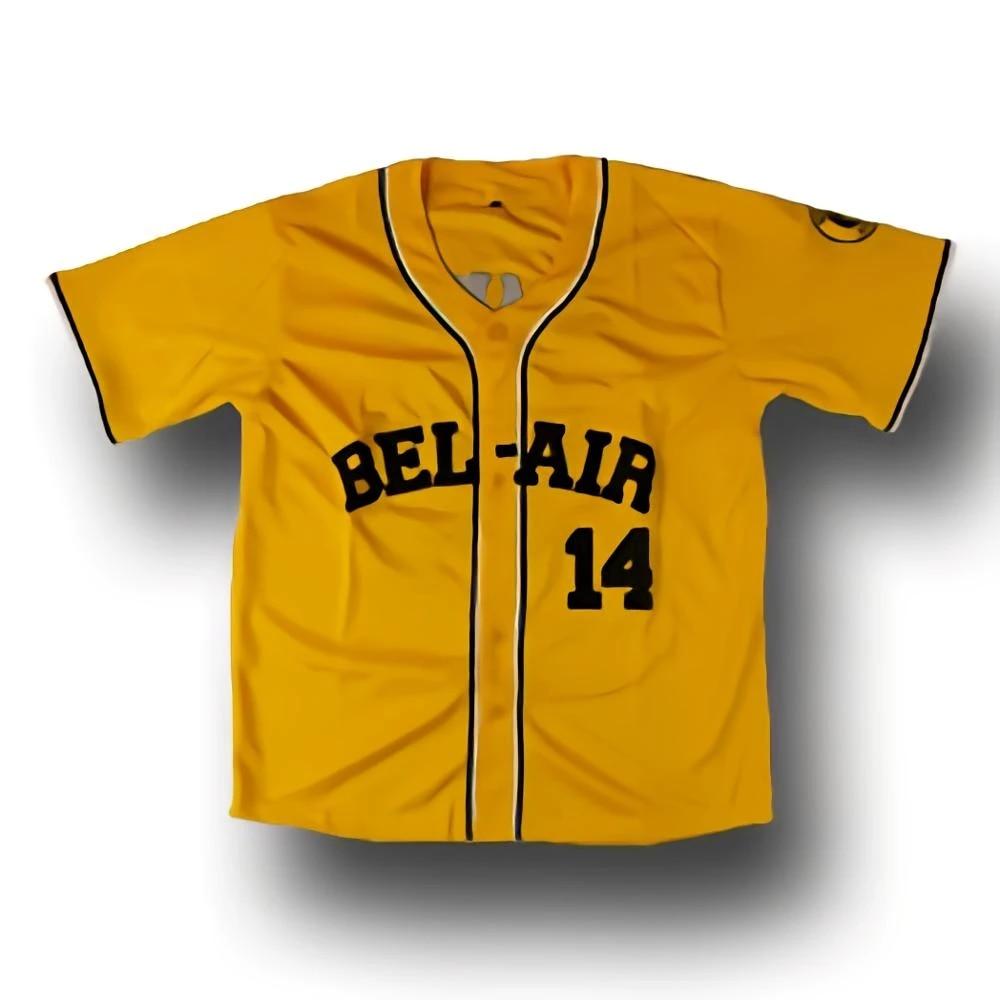 Cheap Retro Will Smith 14# Jerseys Bel-Air Academy Yellow Stitched Baseball Jersey