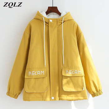 ZQLZ Winter Jacket Women 2020 New Hooded Thick Cotton Padded Parka Mujer Print Letter Plus Size Outwear Casual Loose Coat Female plus size letter print pocket design coat