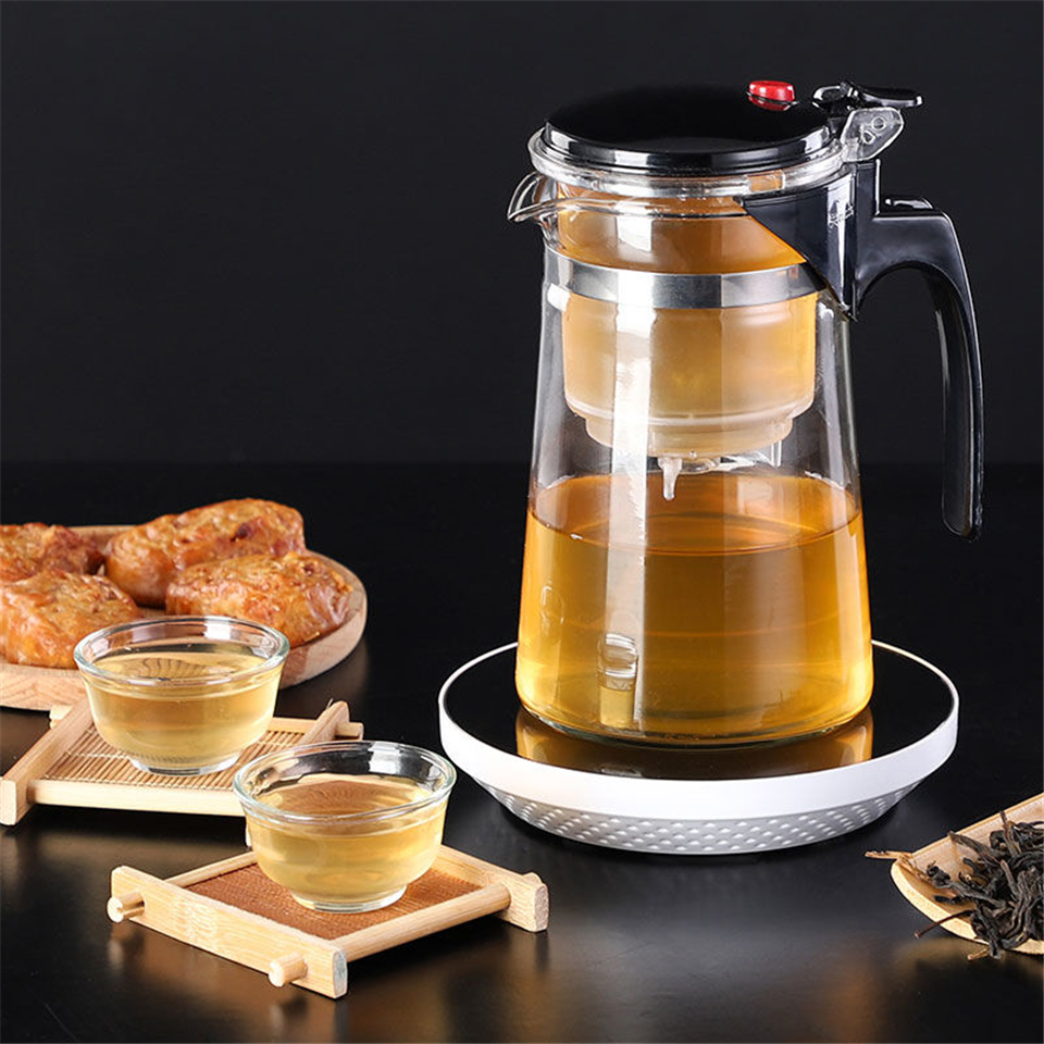 Tea Sets Heat Resistant Glass Tea Pot Tea Infuser Chinese Kung Fu Tea Set Kettle Coffee Glass Maker Convenient Office Tea Pots
