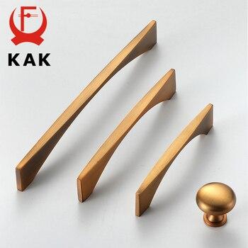 KAK Yellow Bronze Vintage Furniture Handle Kitchen Cabinet European Style Drawer Knobs Door Pulls Hardware