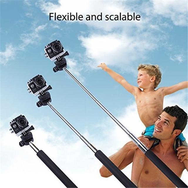 2014 nouveau monopode de poche télescopique en aluminium extensible gopro pole avec adaptateur de montage pour caméra GoPro Hero 1/2/3