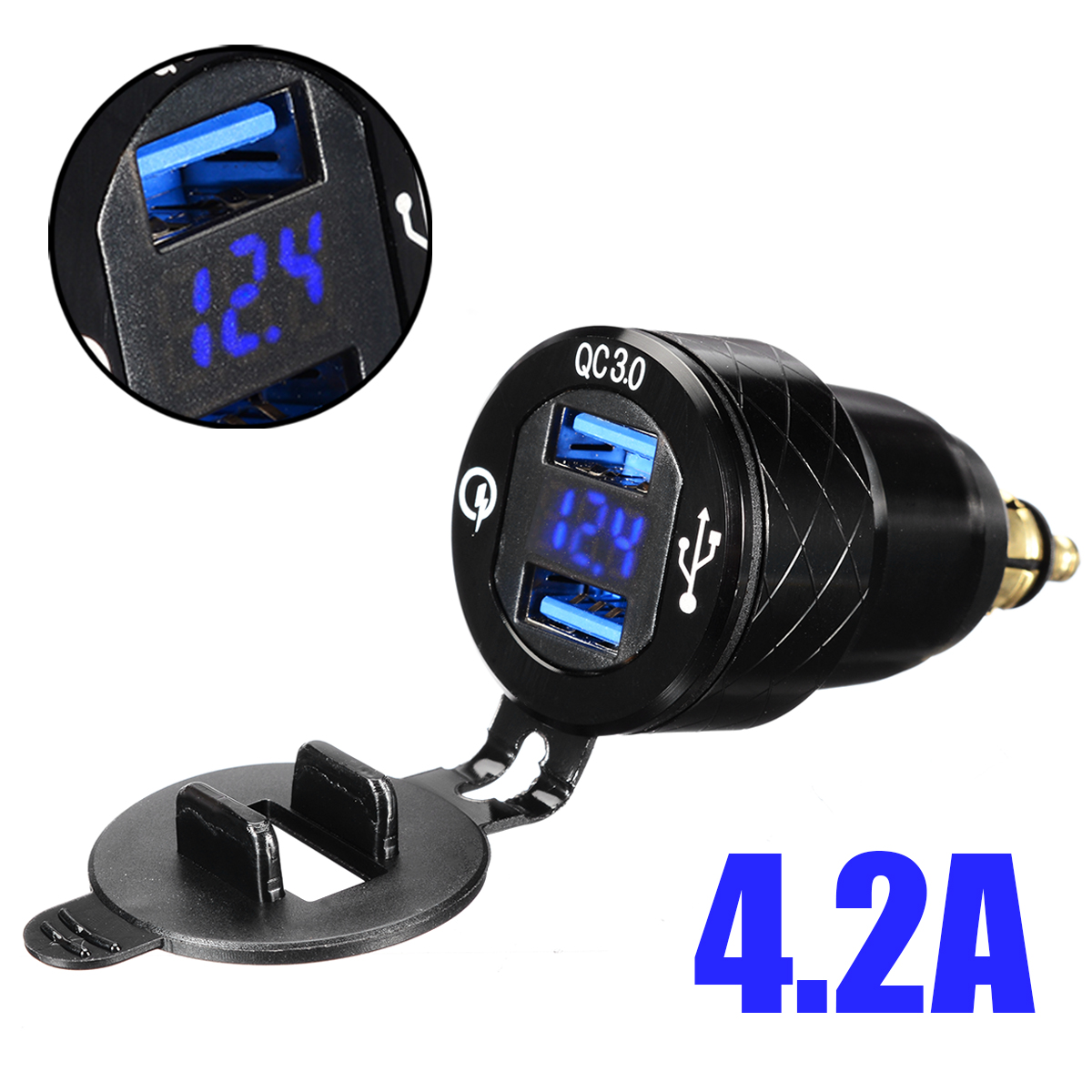 1pc Blue LED 5V 4.2A Motorcycle DIN Socket Dual <font><b>USB</b></font> <font><b>Charger</b></font> Adapter For <font><b>BMW</b></font> F800 F650 F700 R1200 GS EU Plug image