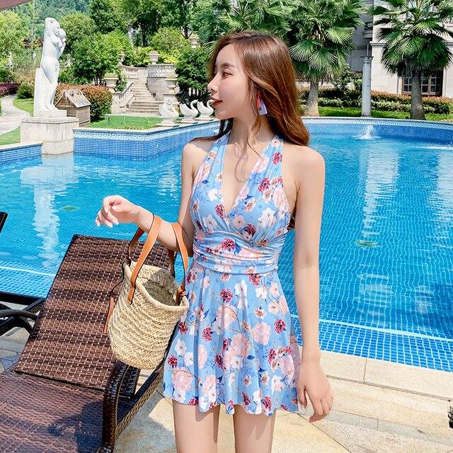 Bloemen Rok Badmode Vrouwen Tankini Plus Size 2020 Een Stuk Badpak Beachwear Spa Badpakken Behoud Zwemmen Pak Xxxl