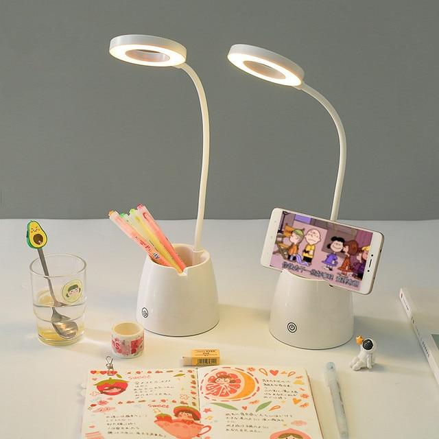 Sharkbang المزدوج الغرض متعددة الوظائف LED مصباح حامل قلم حامل هاتف الإبداعية مطوية حامل قلم الحاويات هدية عيد ميلاد