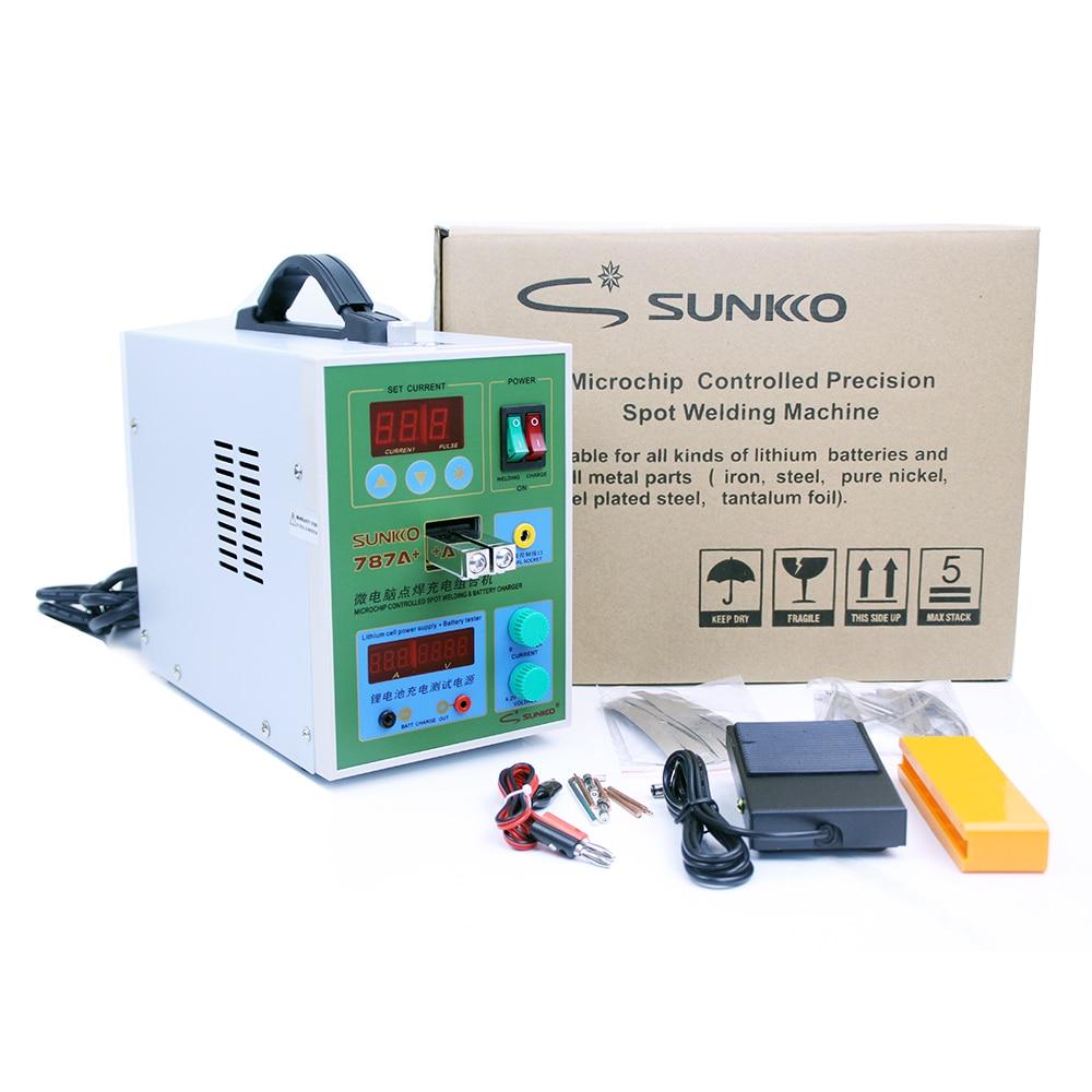 SUNKKO 787A  Battery Microcomputer Pulse Spot Welding Machine MCU Welder Machine Battery Capability Charger Foot Pedal for 18650