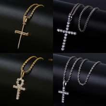 В стиле «хип хоп» АНК крест кулон Цепочки и ожерелья micro pave