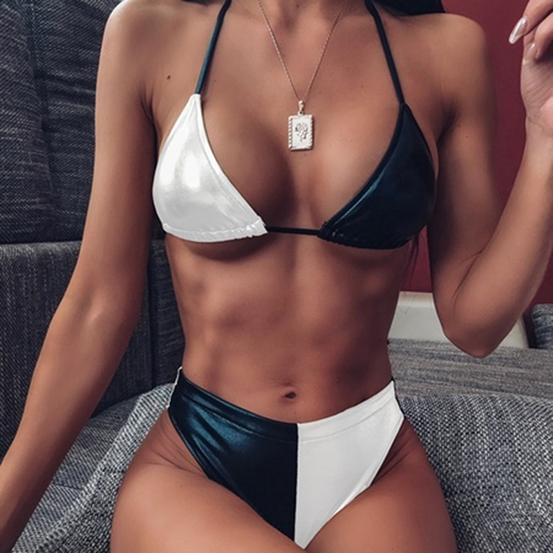 PU Leather <font><b>Bikini</b></font> Set Women Push-Up Brazilian <font><b>Bikini</b></font> Sets <font><b>Sexy</b></font> Swimwear Women Halter Beachwear Swimsuit <font><b>Femme</b></font> Summer Suit image