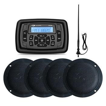 """Marine Stereo Bluetooth Radio Audio Empfänger MP3 Player + 2 Paar 4 """"Marine Wasserdichte Lautsprecher Für RV Boot Golf warenkorb + AM FM Antenne"""