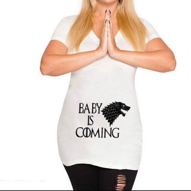 Camisetas de maternidad divertidas de talla grande 2