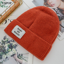 USPOP 2019 New winter thick beanies letter skullies female velvet lining knit warm hats