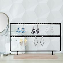 Jewelry Display Stand 24/36/44/46 Holes Earring Holder Earring Organizer Metal 2 Layers Creative Jewelry Holder Rack