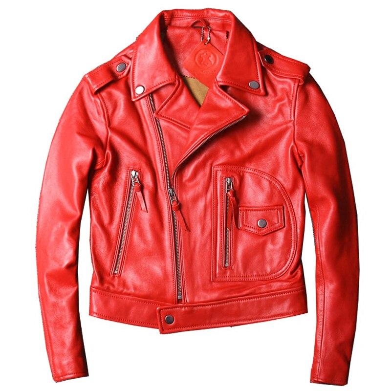 Biker Women Real Sheepskin Leather Jackets Coats Spring Autumn Genuine Leather Jacket Overcoats Lady Streetwear A827