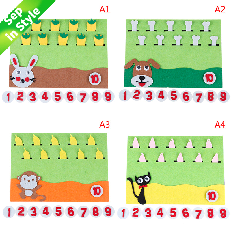 1Pc Felt Cartoon Card Early Teaching Kids by Hands Study Math The Numbers Add and Subtract Felt Craft Math Toys For Children