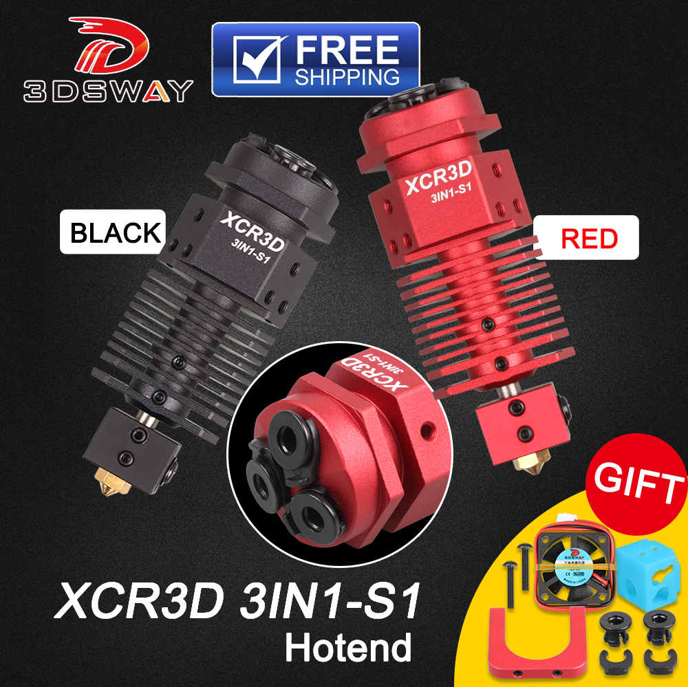 3DSWAY 3D Printer Parts XCR3D 3IN1-S1 Hotend 3 In 1 Out Switching Color 0.4/1.75mm Filament J-head For Titan MK8 Bowden Extruder