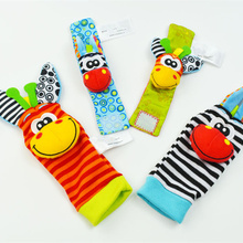 Wholesale Newborn Infant Baby Garden Bug Socks Rattles Toys Cartoon Animal Wrist Rattle Foot Wear Socks Kids Toys 0~24 Months