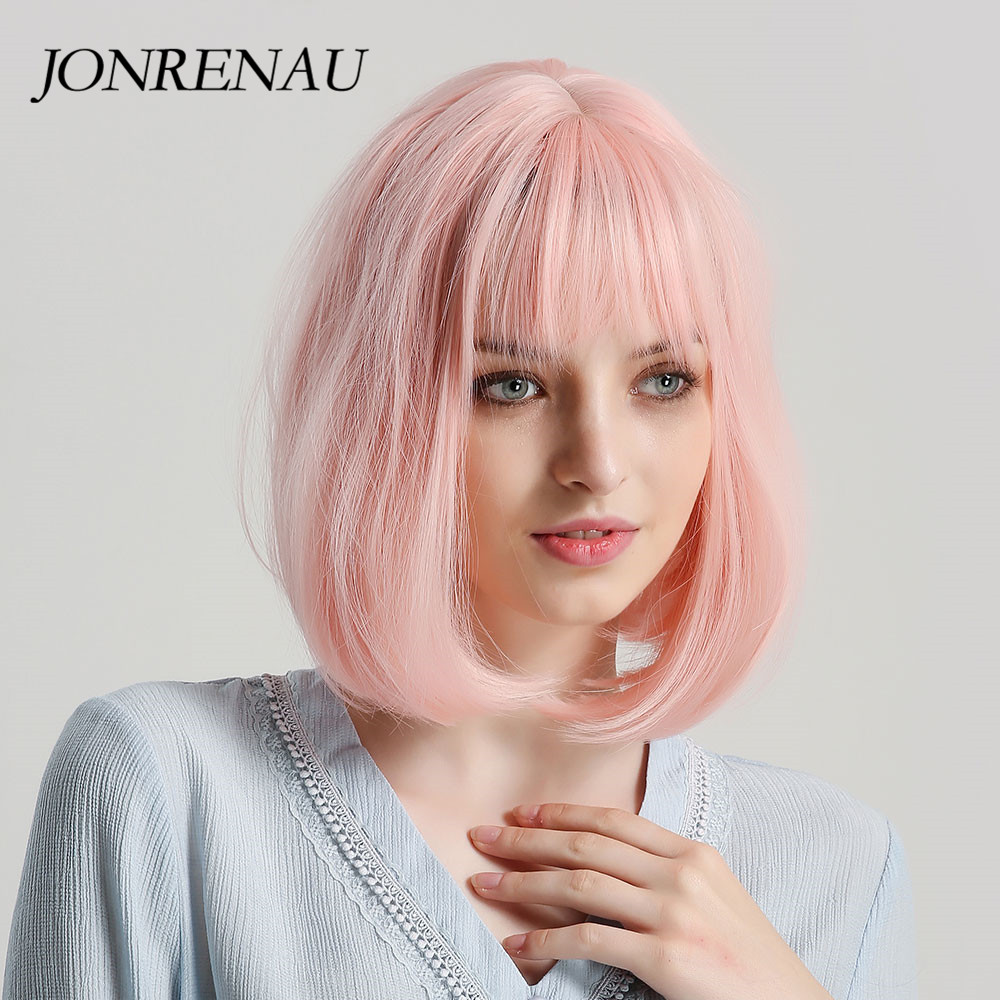 JONRENAU 12 Inches  Short Straight Synthetic Bob Wigs With Bangs  For Women Fashion Pink Party Wig Or Cosplay