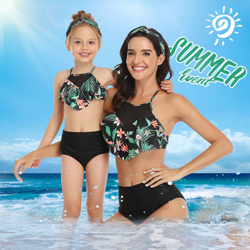 Family Swimsuit Bikini Shorts Outfits Mom Maching-Look Me Mommy Baby-Girl Beach And title=