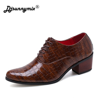 Formal Shoes Men Leather Dress Shoes Male Business Derby Oxford Shoe Pointed Toe High Heels Black Luxury Wedding Mens Office Man