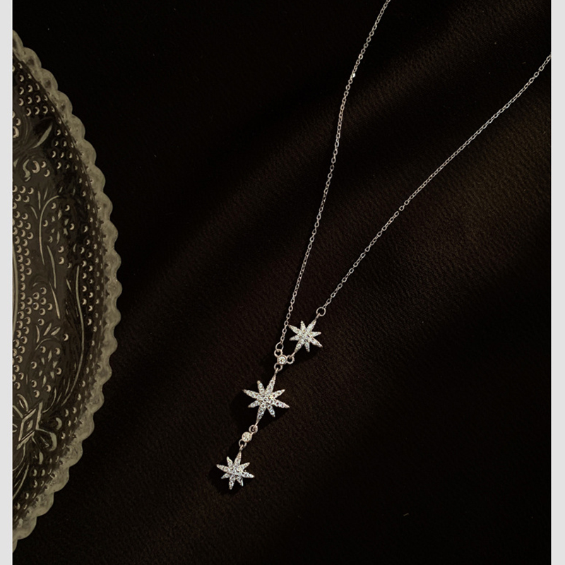 Trendy Pendant Chain Necklace Maple leaf Shape Shining Zircon 925 Sterling Meteor Silver Jewelry For Women Wedding Birthday Gift