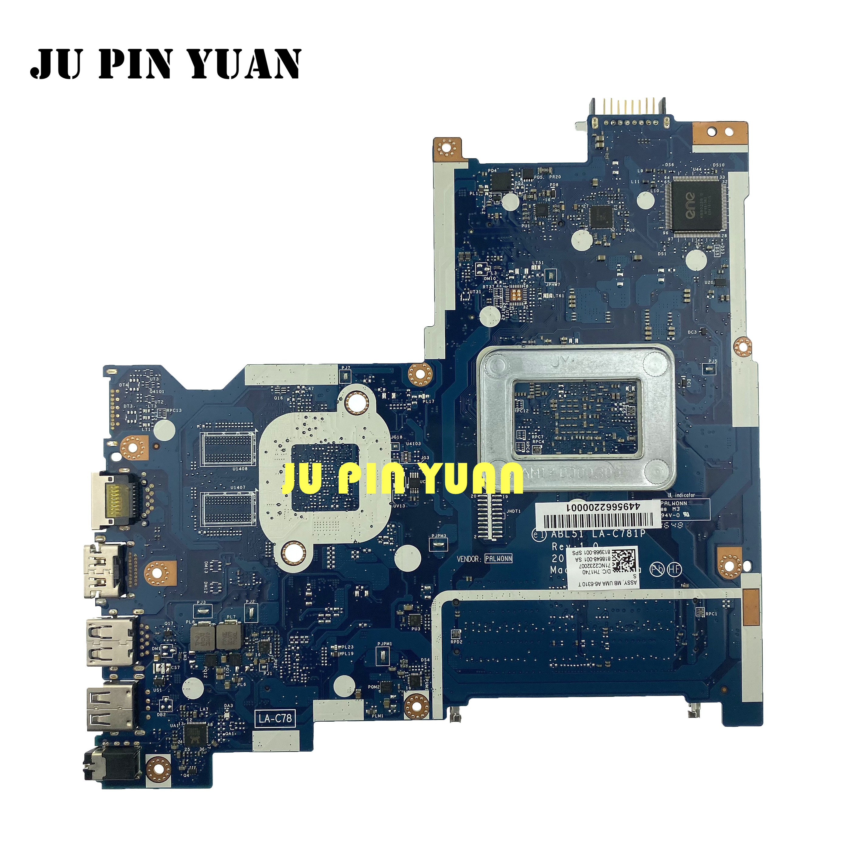 813968-001 813968-501 ABL51 LA-C781P For HP Notebook 15-AF Series Motherboard 813968-601 A6-6310 All Functions Fully Tested