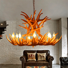Nordic Candle Antler LED Chandelier Lighting American Retro Resin LOFT Horn LED Lamps Home Decoration Kitchen Lighting Fixtures