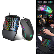 Keyboard Mouse Set Ergonomic Multicolor Backlight One-Handed Game wired Keyboard 6400 DPI Gamer Gaming Mouse For Home PC Laptop(China)
