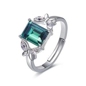 Image 1 - Украшенное кристаллом от Сваровски, кольца с зеленым камнем и бабочкой, женские кольца регулируемого размера для вечеринки