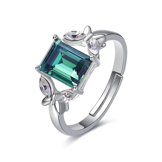 Украшенное кристаллом от Сваровски, кольца с зеленым камнем и бабочкой, женские кольца регулируемого размера для вечеринки