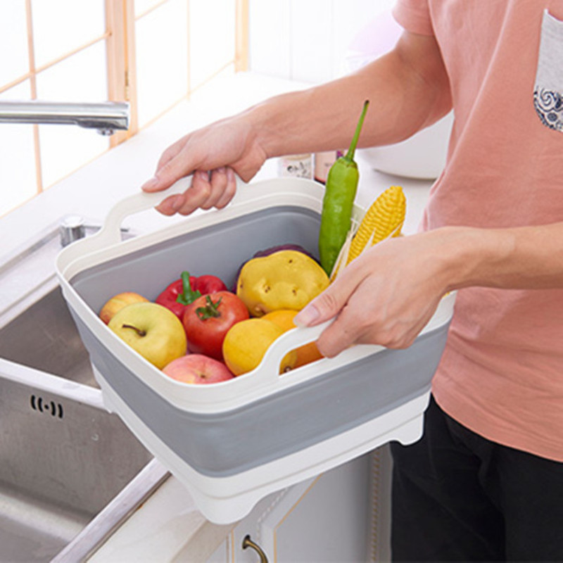 Portable Folding Washing Fruit Bowl Basin Basket Vegetable Drain Washbasin Storage Holder Container Kitchen Accessories