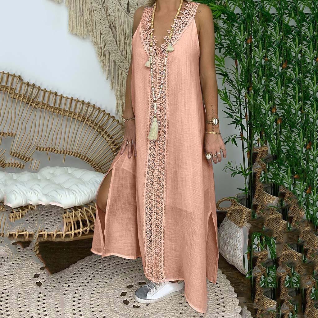 Women Plus Size Off Shoulder Sleeveless Party Bod ycon Lace Patchwork Long Dress Vestidos De Fiesta