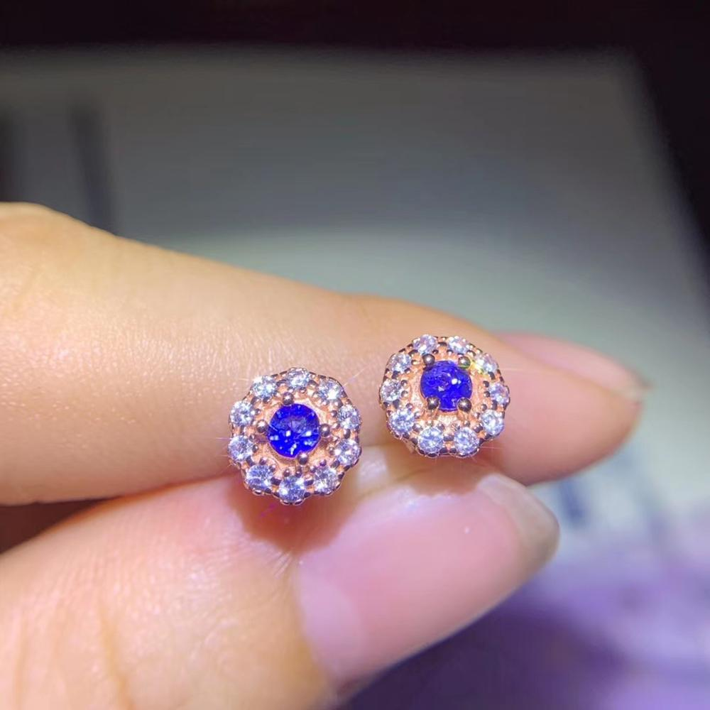 Fashion Elegant delicate round natural sapphire stud earrings Natural gemstone earrings S925 silver women party gift jewelry