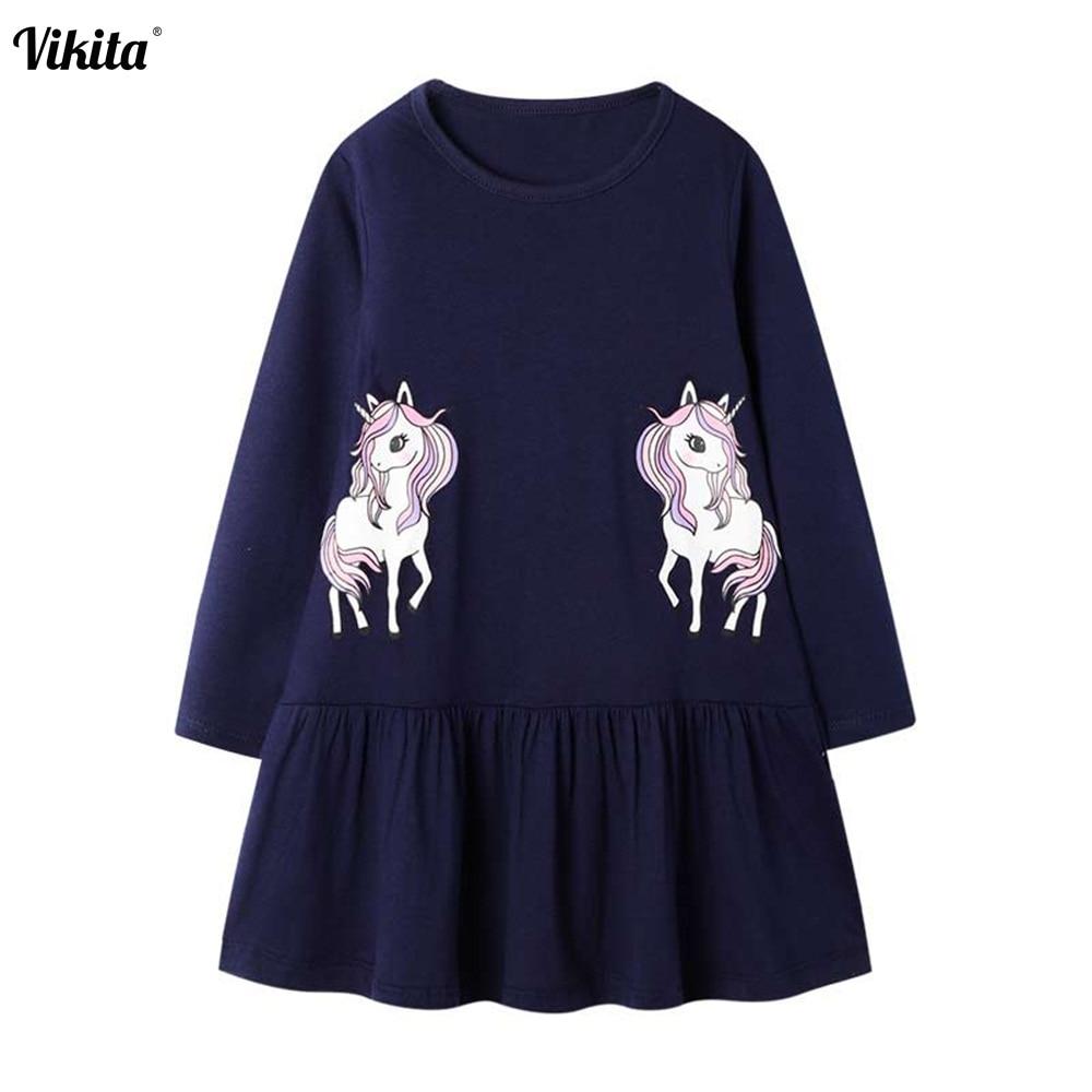 Vikita meninas unicórnio vestido de manga longa crianças robe fille traje infantil vestidos menina crianças outono inverno dos desenhos animados vestidos