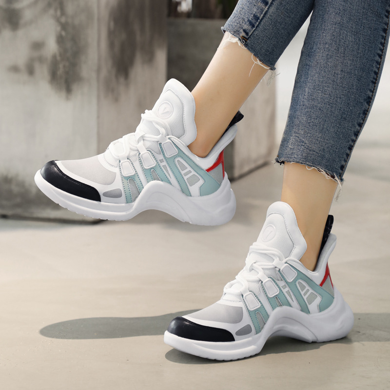 Euro-American Fashion Women Leisure Shoes Mesh Breathable Ladies Trend Ugly Shoes Outdoor High Quality Causal Sneakers