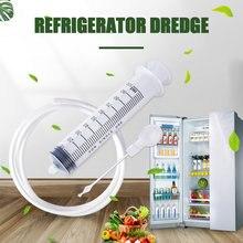 Draga de drenagem geladeira limpeza conjunto longo flexível escova geladeira buraco limpador esfrega escova casa sucção seringa dispositivo limpeza