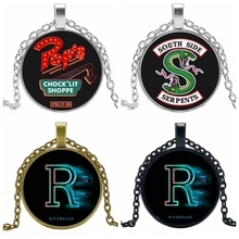 2019 Hot Creative River Valley Town Riverdale Time Crystal Glass Convex Round Pendant Necklace Clothing Sweater Chain Jewelry