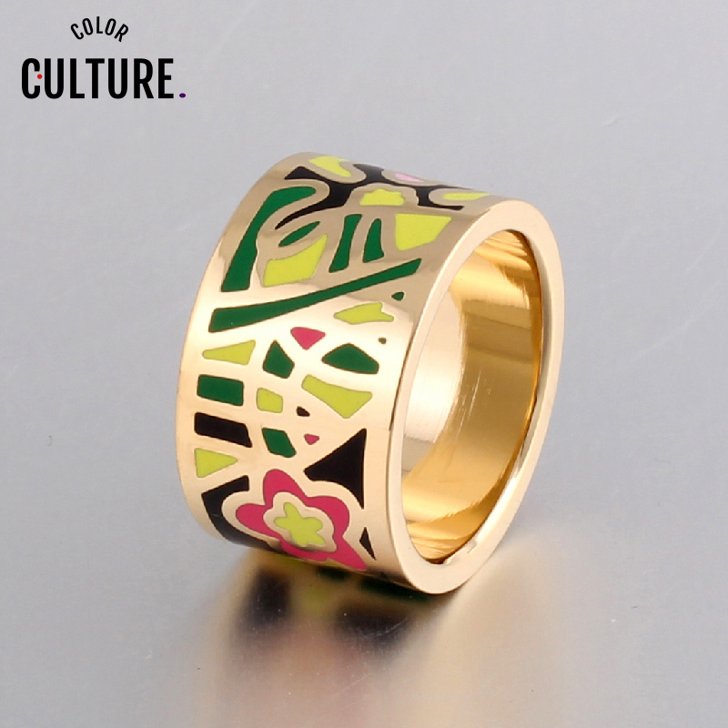 Promotions Hurry Flower Enamel Ring Gold-color Enamel Geometric Patterns Ring 1.3CM Big Rings for Women Ethnic jewelry