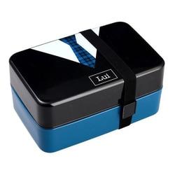 730Ml Tie pudełko na lunch pojemnik bento dla dziewczynek Lady dzieci Sushi Lunchbox pojemnik na jedzenie z obiadem mikrofalówka odpowiedni niebieski w Pudełka śniadaniowe od Dom i ogród na