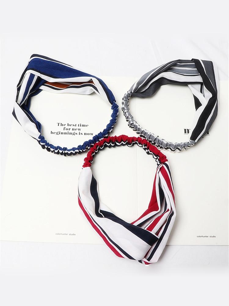 Elastic Headband Face-Wash Yoga Hair-Accessories Makeup New-Striped Ladies Cross Creative
