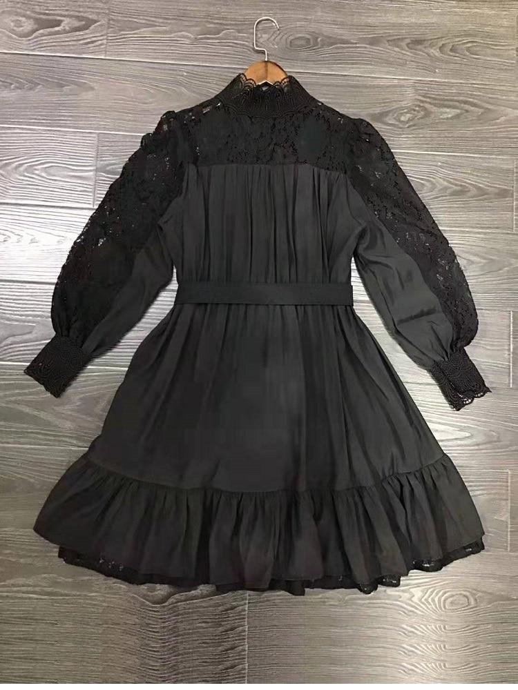 Alta qualidade designer vestido 2019 outono inverno sexy party club feminino oco para fora rendas retalhos manga longa vestido branco - 4