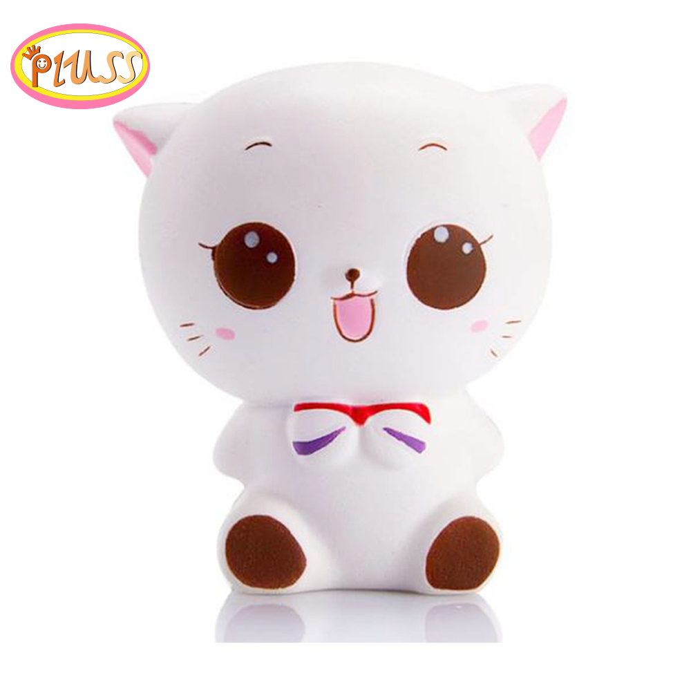 Cute Squishy White Cat Squishies Slow Rising Squeeze Healing Fun Kids Kawaii Kids Adult Toy Stress Reliever Decor