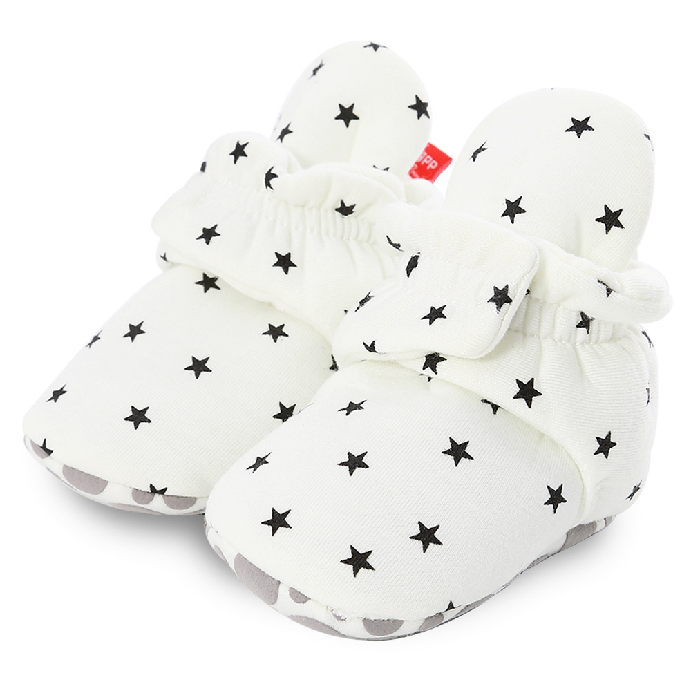 Newborn Baby Socks Shoes Boy Girl Star Toddler First Walkers Booties Cotton Comfort Soft Anti-slip Warm Infant Crib Shoes 2