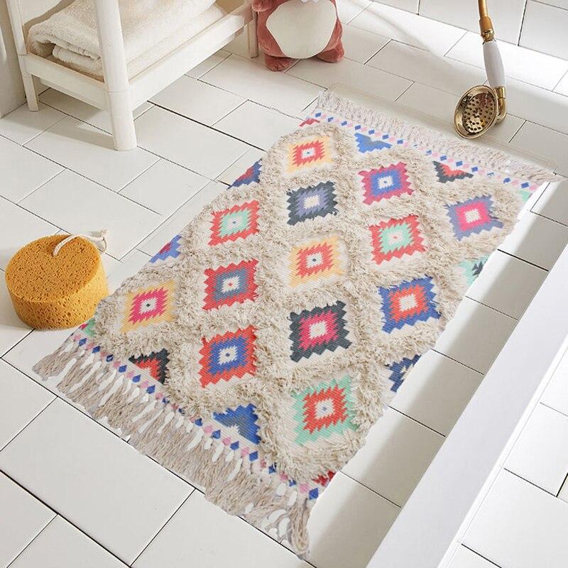 Tapis à carreaux à carreaux de ferme avec tapis antidérapants tapis à géométrie colorée, tapis de cuisine en coton tissé à la main