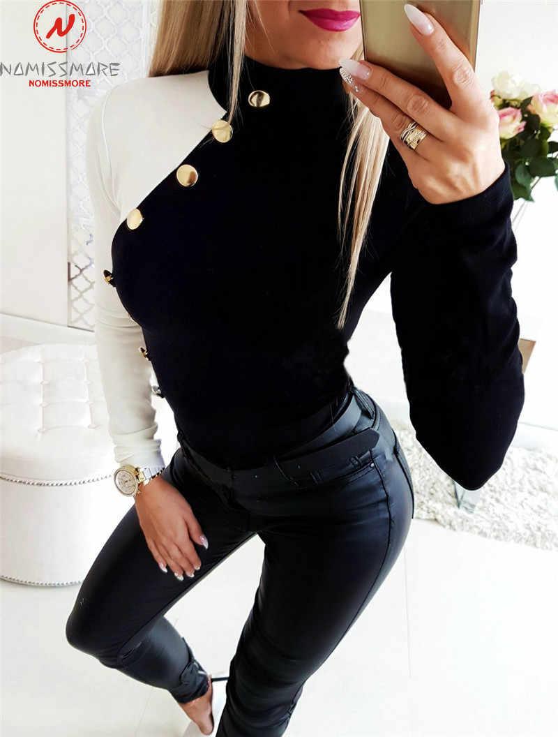 ผู้หญิงเสื้อยืดแขนยาว Streetwear Patchwork การจับคู่สีการออกแบบปุ่มตกแต่ง O-Neck เสื้อแขนยาว Slim Pullover เสื้อ