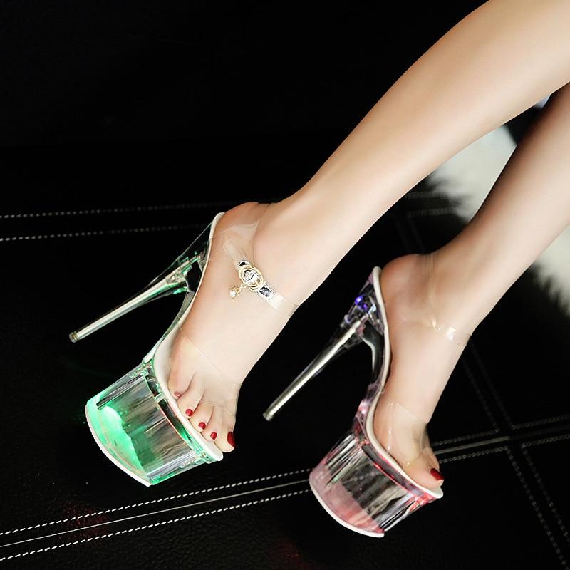 LTARTA 34 43 Women Crystal 14cm Heels Nightclub Luminous Sandals Dance Shoes Crystal Waterproof LED Sandals LTARTA 34-43 Women Crystal 14cm Heels Nightclub Luminous Sandals Dance Shoes Crystal Waterproof LED Sandals LFD-10368
