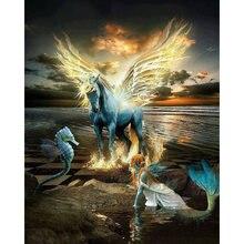 Diy картина по номерам русалки комплект маслом крылья лошадь
