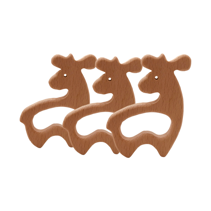 DIY Animal Wooden Teether Christmas Deer Wooden Pendant Rodent Teething Toys Nursing Necklace Pacifier Chain Bite Baby Chew Gift